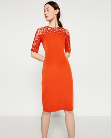 Zara Orange lace detail dress: £19.99